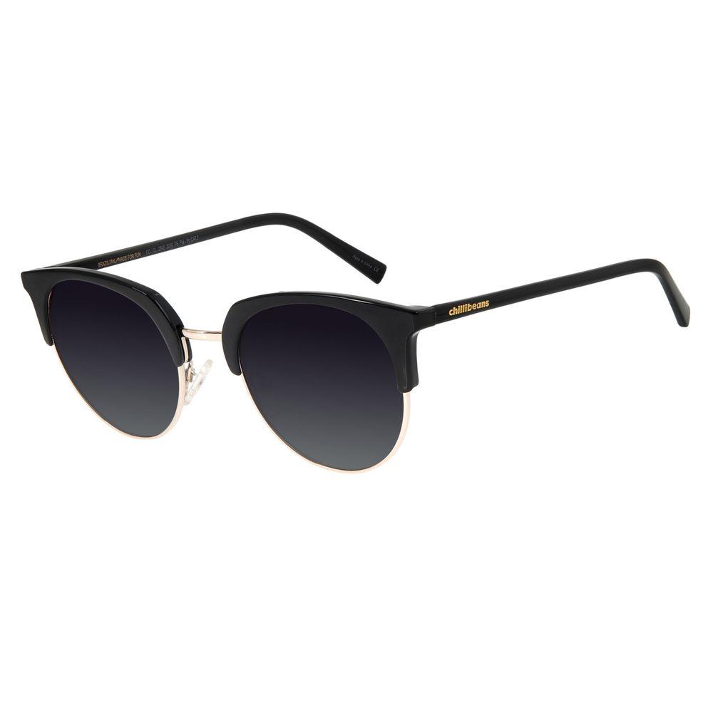 Óculos De Sol Feminino Chilli Beans Quadrado Preto Polarizado OC.CL.2845-2030