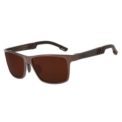 Óculos De Sol Masculino Chilli Beans Quadrado Marrom Polarizado OC.AL.0230-0202