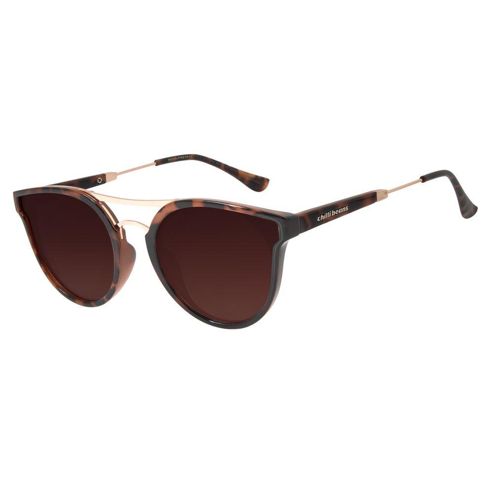 Óculos de Sol Feminino Chilli Beans Redondo Polarizado Tartaruga OC.CL.2874-5706