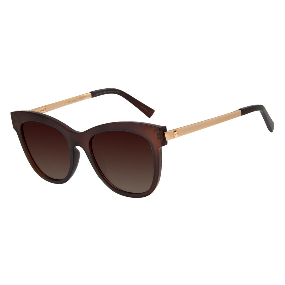 Óculos De Sol Feminino Chilli Beans Caveira Marrom Polarizado OC.CL.2867-5702