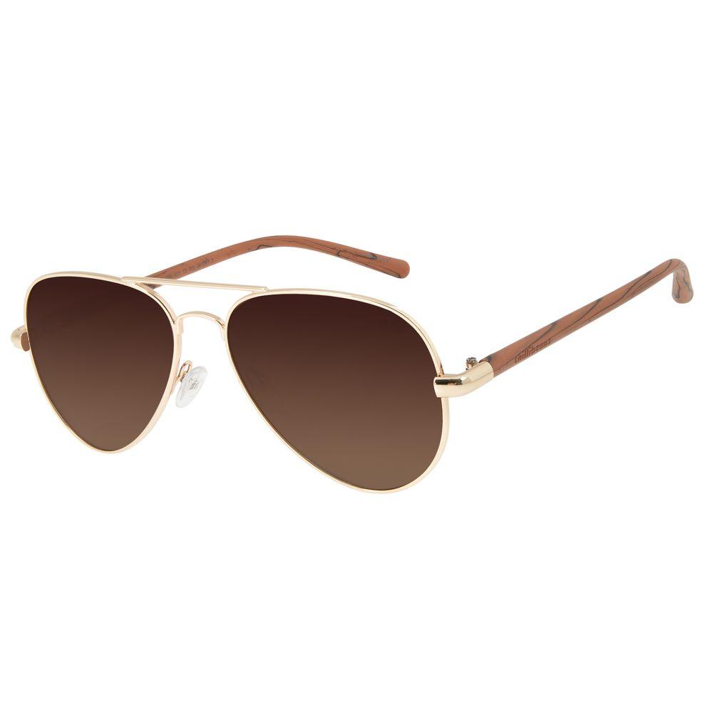 Óculos de Sol Unissex Chilli Beans Aviador Dourado Polarizada OC.MT.2709-5721