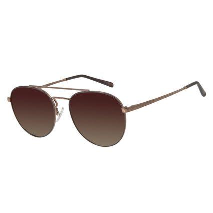 Óculos de Sol Unissex Chilli Beans Redondo Marrom Polarizado OC.MT.2733-5702