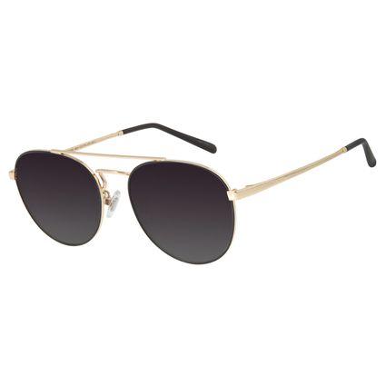 Óculos de Sol Unissex Chilli Beans Redondo Dourado Polarizado OC.MT.2733-2021
