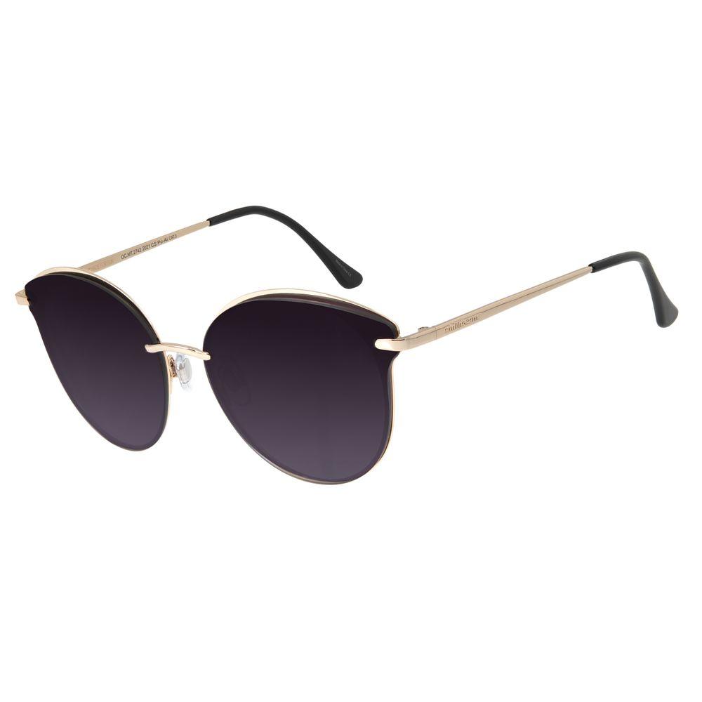 Óculos de Sol Feminino Chilli Beans Redondo Dourado Polarizado OC.MT.2742-2021