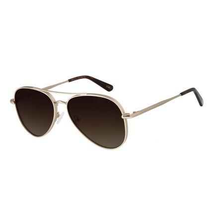 Óculos de Sol Unissex Chilli Beans Signos Leão Aviador Dourado OC.MT.2743-5721