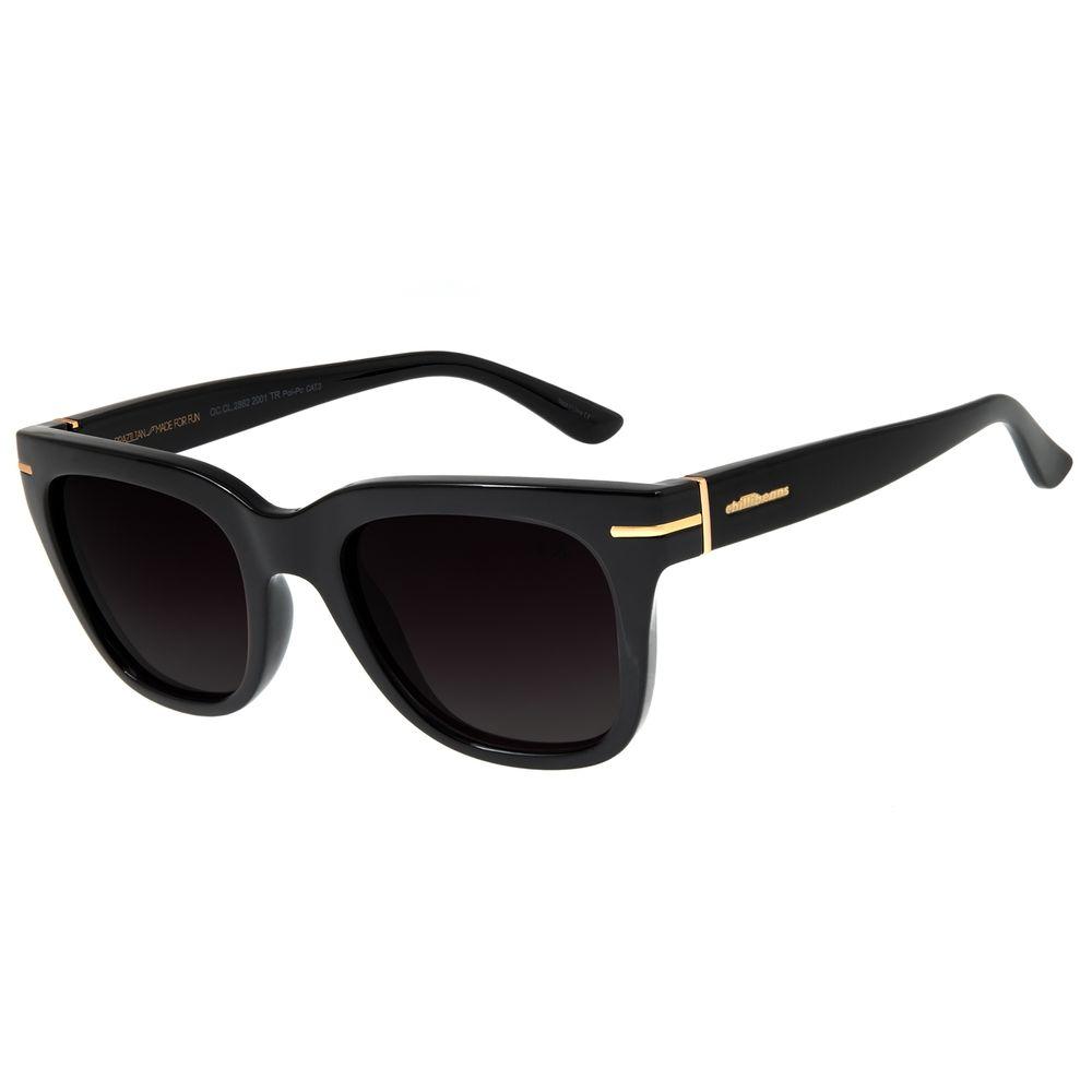 Óculos de Sol Feminino Chilli Beans Quadrado Preto Polarizado OC.CL.2862-2001