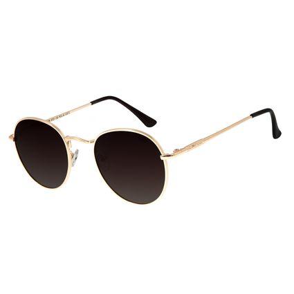 Óculos de Sol Unissex Chilli Beans Redondo Dourado Polarizado OC.MT.2679-5721