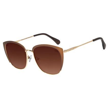 Óculos de Sol Feminino Chilli Beans Quadrado Metal Marrom OC.MT.2714-5702