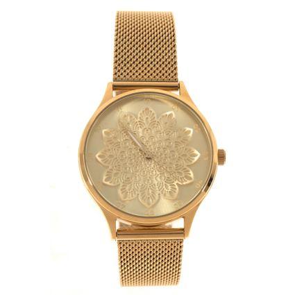 Relógio Analógico Feminino Chilli Beans Floral Dourado RE.MT.0953-2121