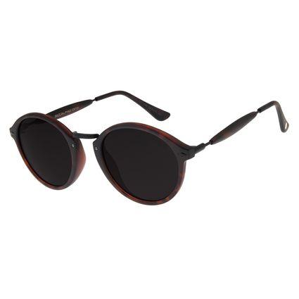 Óculos De Sol Unissex Chilli Beans Redondo Tartaruga OC.CL.1677-0106