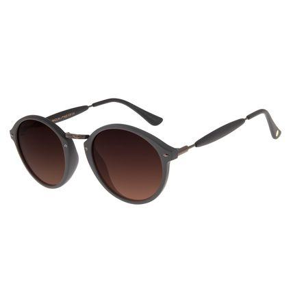 Óculos De Sol Unissex Chilli Beans Redondo Marrom Escuro OC.CL.1677-5747