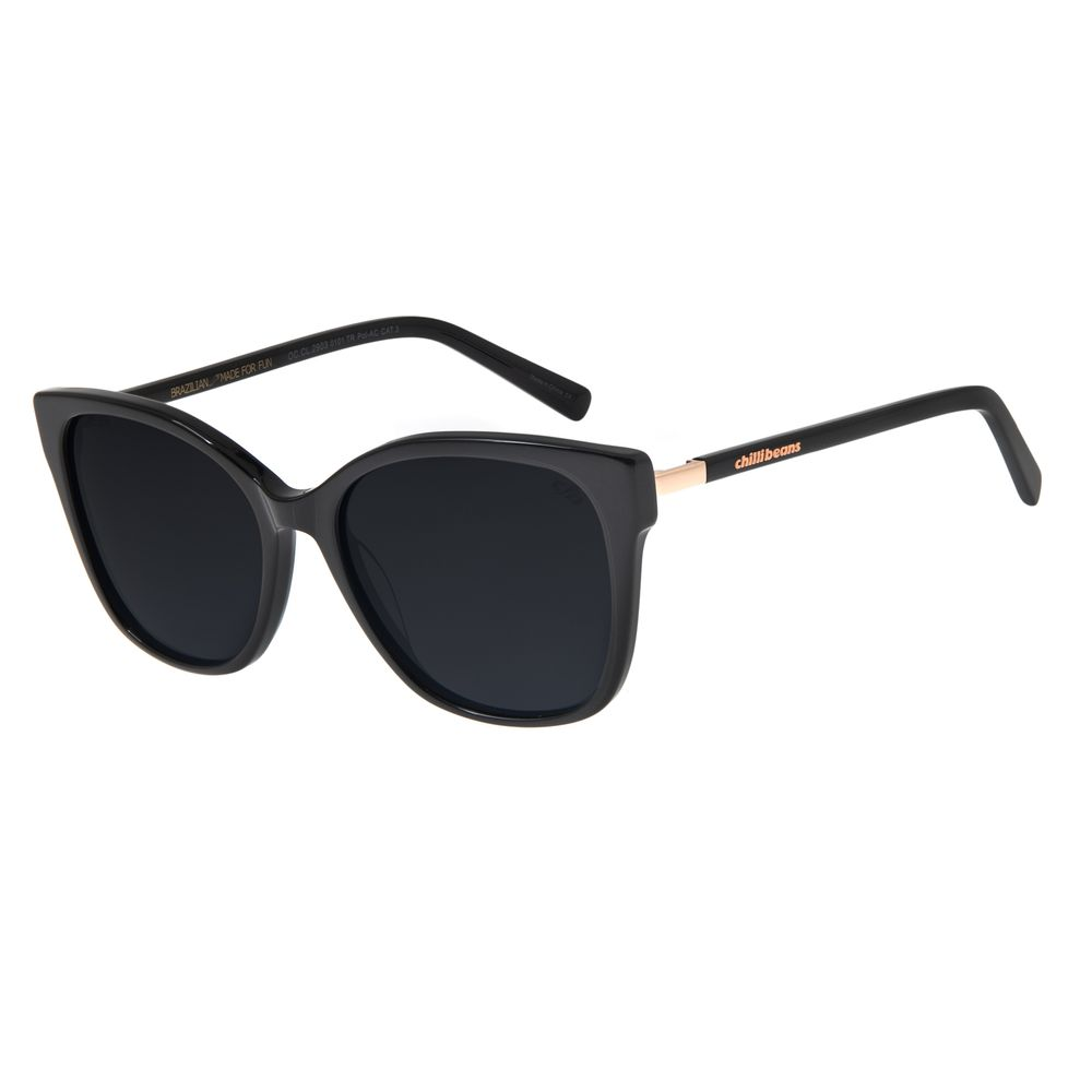Óculos De Sol Feminino Chilli Beans Quadrado Preto Polarizado OC.CL.2903-0101