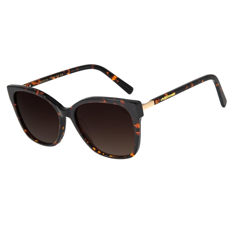 Óculos De Sol Feminino Chilli Beans Quadrado Tartaruga Polarizado OC.CL.2903-5706