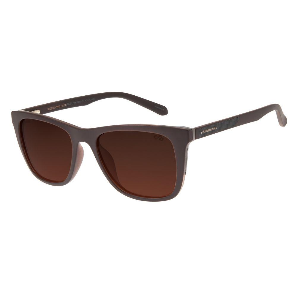 Óculos De Sol Masculino Chilli Beans Bossa Nova Marrom Polarizado OC.CL.2906-0202
