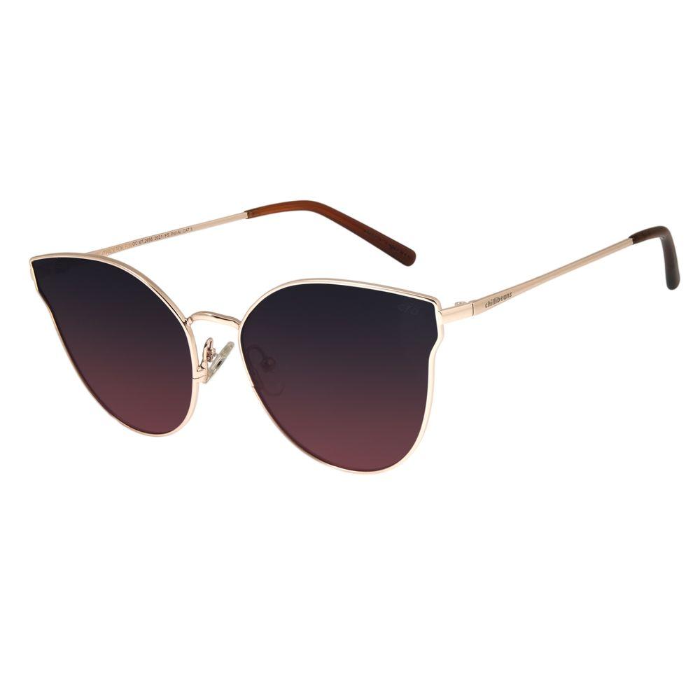 Óculos De Sol Feminino Chilli Beans Gatinho Dourado Polarizado OC.MT.2698-2021
