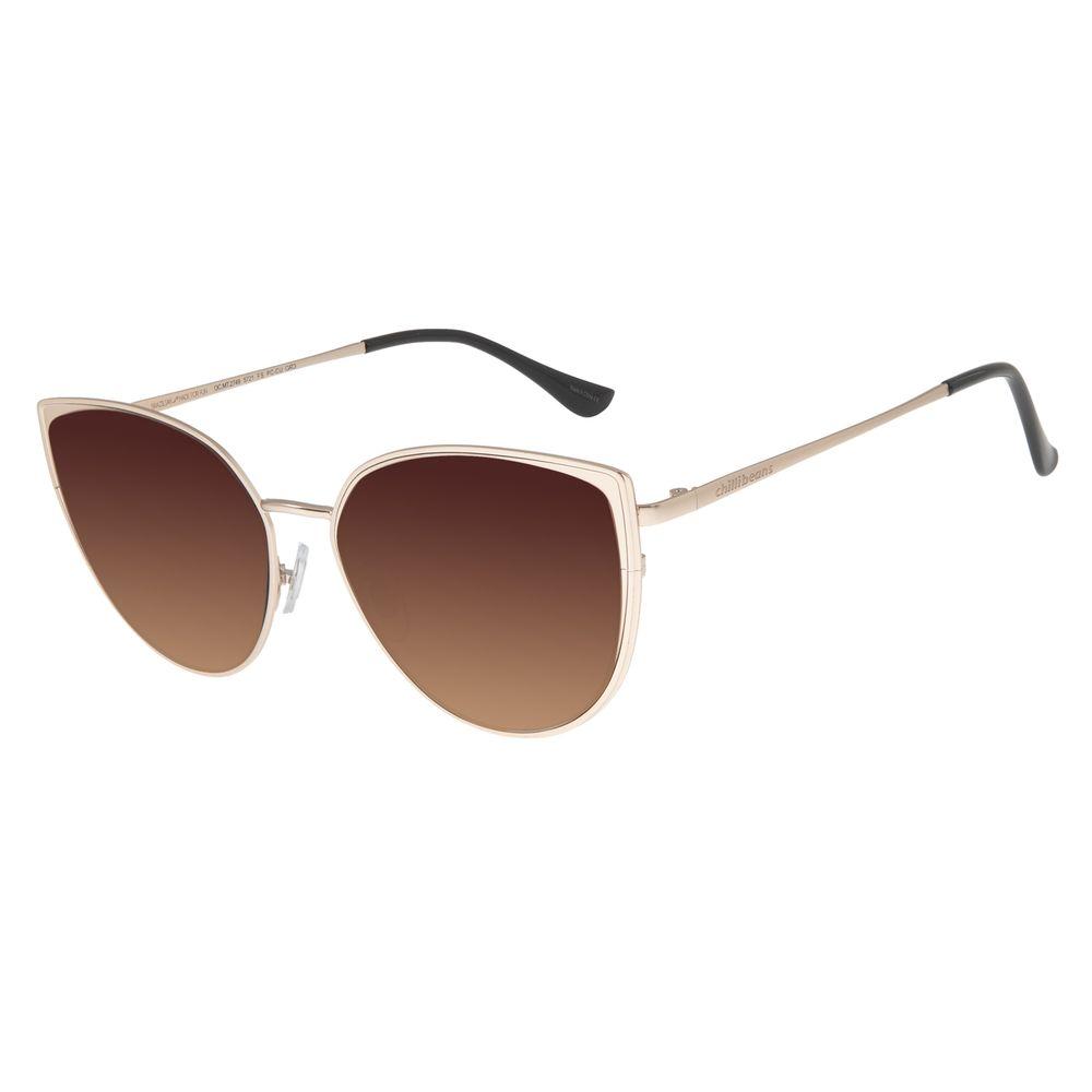 Óculos De Sol Feminino Chilli Beans Gatinho Cobre Dourado OC.MT.2749-5721