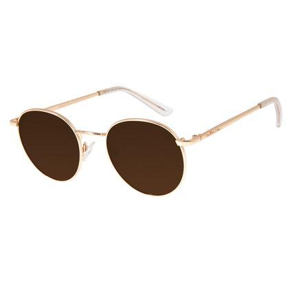 Óculos De Sol Unissex Chilli Beans Redondo Metal Dourado OC.MT.2768-0221