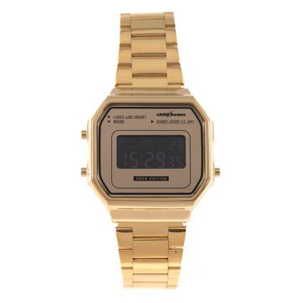 Relógio Digital Feminino Chilli Beans Metal Quadrado Dourada RE.MT.0945-2121