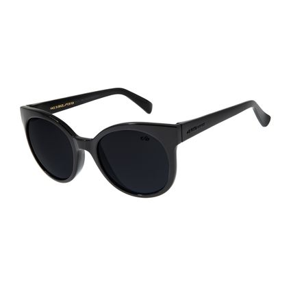 Óculos de Sol Feminino Chilli Beans Redondo Preto Brilho OC.CL.2643-0130