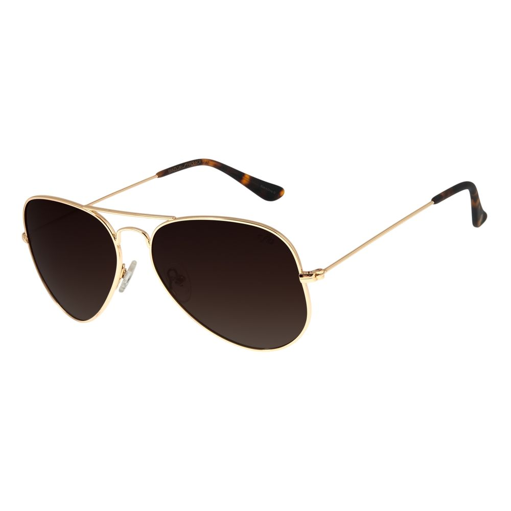 Óculos de Sol Unissex Chilli Beans Aviador Polarizado Dourado OC.MT.2514-5721