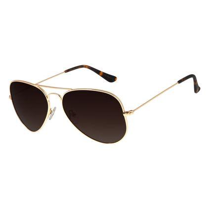Óculos de Sol Chilli Beans Aviador Polarizado Dourado Unissex Óculos de Sol Unissex Chilli Beans Aviador Polarizado Dourado OC.MT.2514-5721
