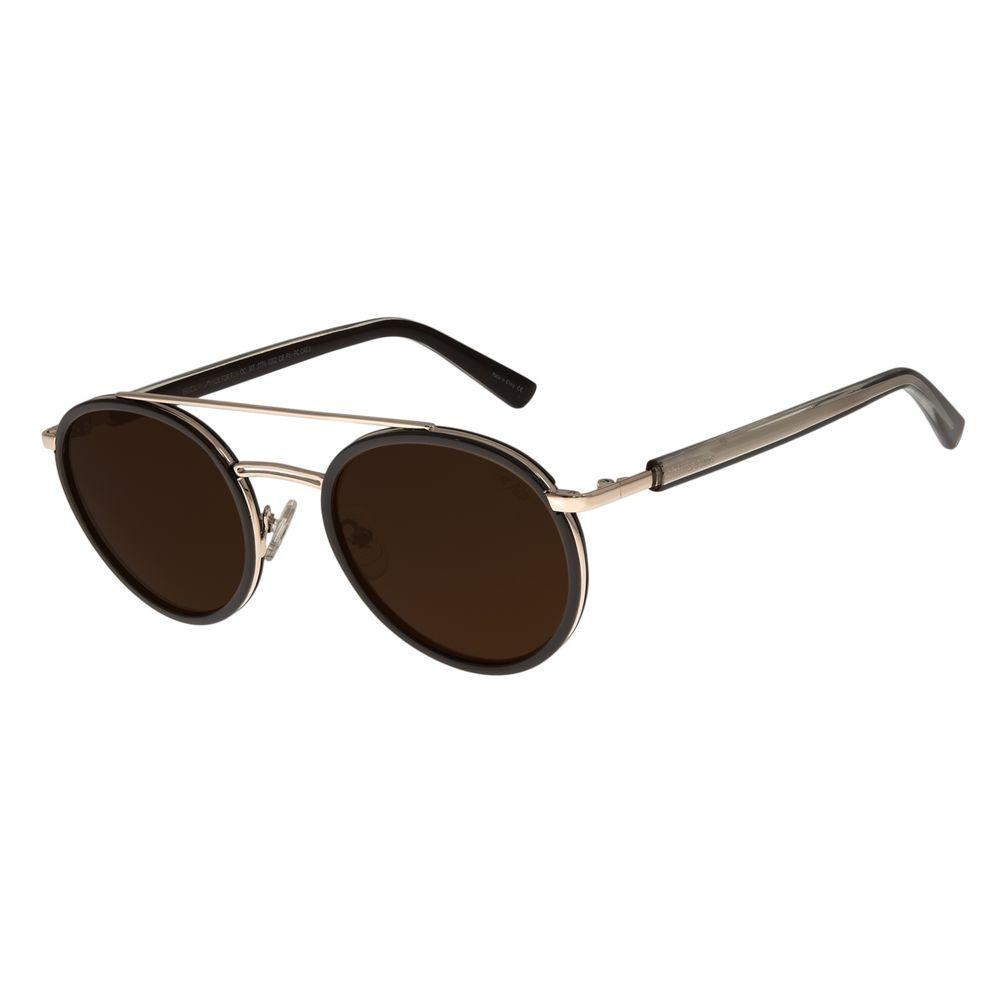 Óculos de Sol Unissex Chilli Beans Redondo Marrom OC.MT.2776-0202