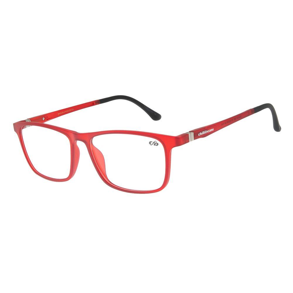 Armação Para Óculos de Grau Masculino Chilli Beans Retangular Vermelho LV.IJ.0110-1601
