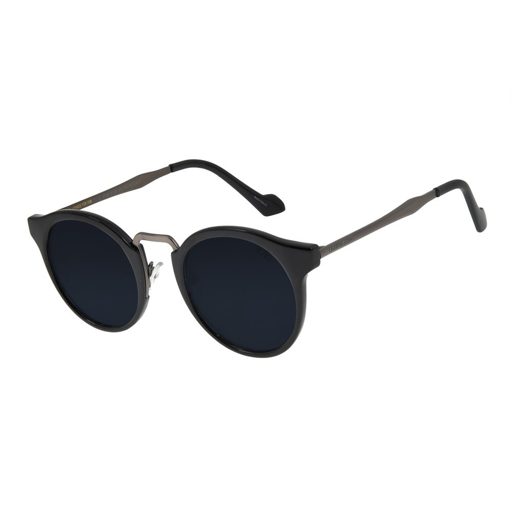 Óculos de Sol Feminino Chilli Beans Redondo Preto Brilho OC.CL.2856-0130