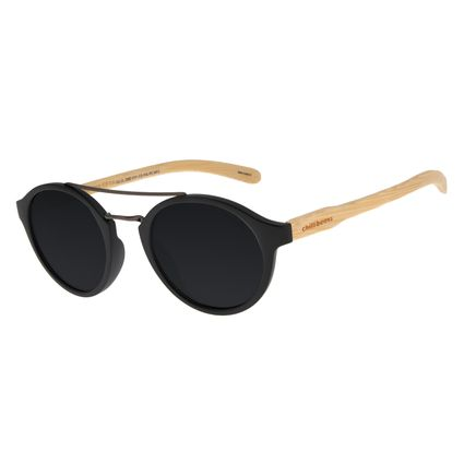 Óculos de Sol Unissex Chilli Beans Redondo Bamboo Preto OC.CL.2985-0101