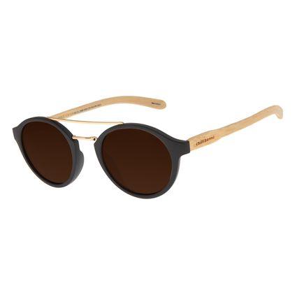Óculos de Sol Unissex Chilli Beans Redondo Marrom Polarizado OC.CL.2985-0202