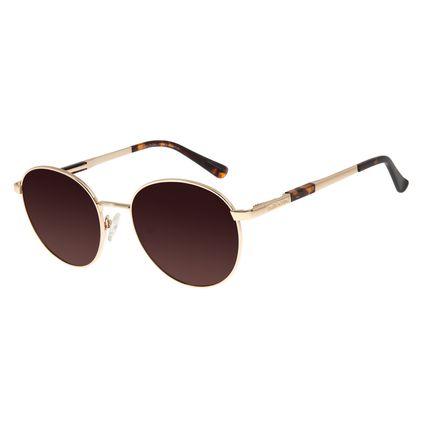 Óculos De Sol Unissex Chilli Beans Redondo Polarizado Dourada OC.MT.2737-5721