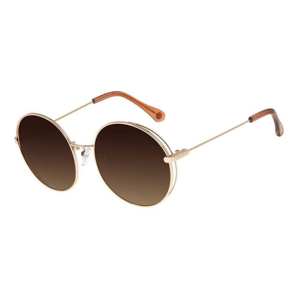 Óculos De Sol Feminino Chilli Beans Redondo Metal Dourado OC.MT.2758-5721