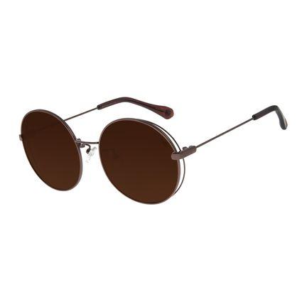 Óculos De Sol Feminino Chilli Beans Redondo Metal Marrom OC.MT.2758-0202
