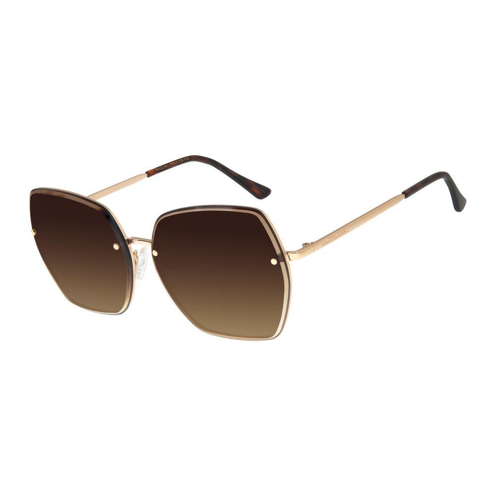 Óculos De Sol Feminino Chilli Beans Quadrado Fashion Dourado OC.MT.2783-5721