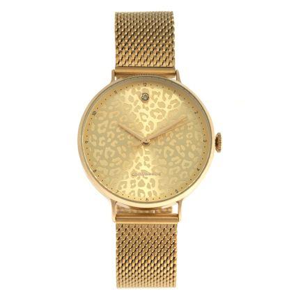 Relógio Analógico Feminino Chilli Beans Animal Print Dourado RE.MT.0899-2121