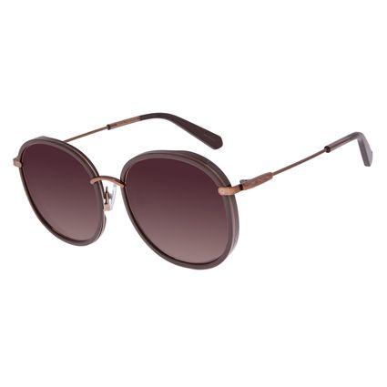 Óculos de Sol Feminino Chilli Beans Alok Transparent Line Redondo Marrom OC.CL.2960-5702