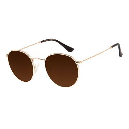 Óculos De Sol Unissex Chilli Beans Redondo Dourado OC.MT.2795-0221