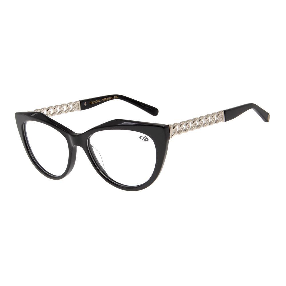 Armação para Óculos de Grau Feminino Chilli Beans Gatinho Chains Preto LV.AC.0503-0107