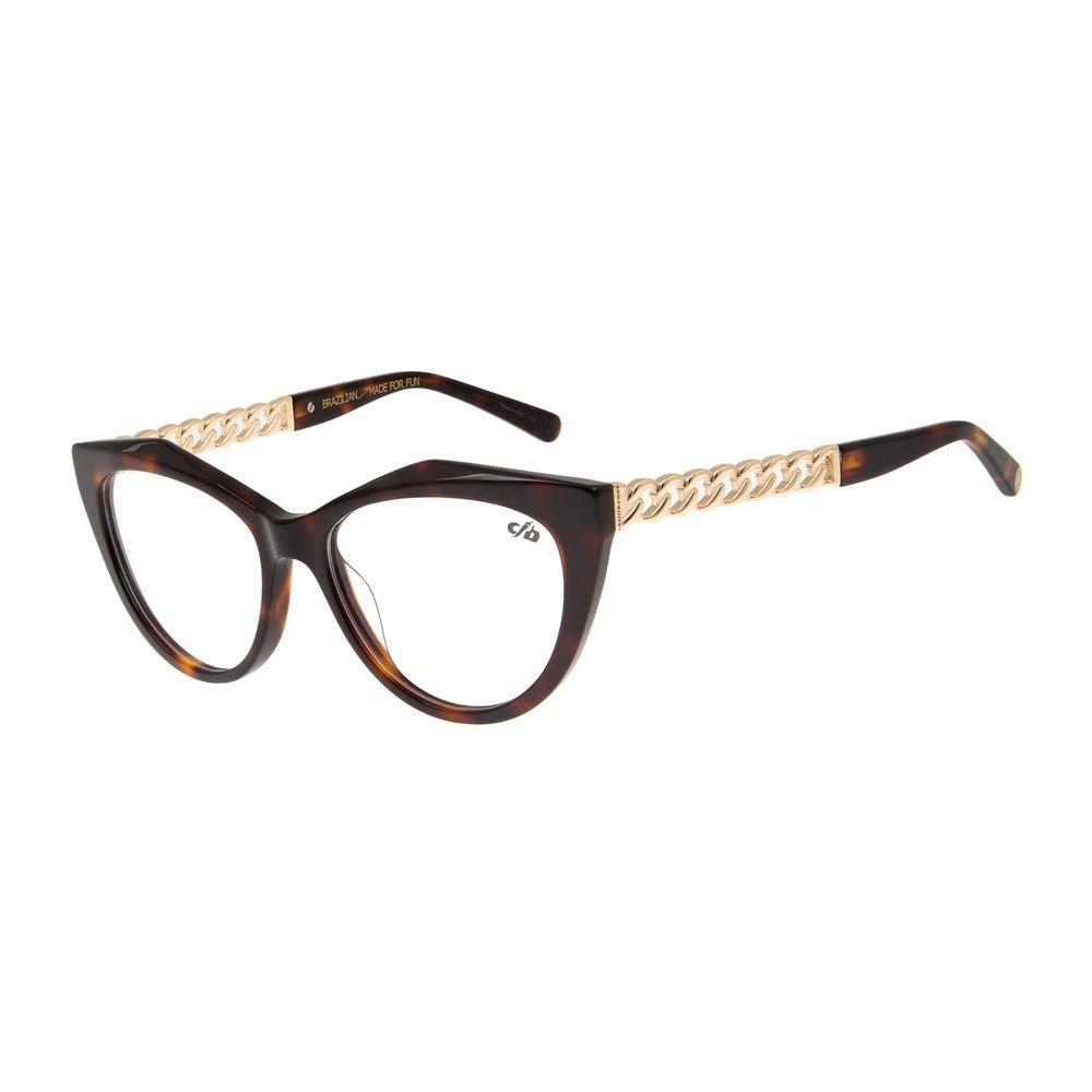 Armação para Óculos de Grau Feminino Chilli Beans Gatinho Chains Tartaruga LV.AC.0503-0621