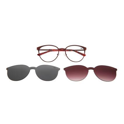 Armação Para Óculos De Grau Feminino Multi 2 em 1 Vermelha LV.MU.0271-1616