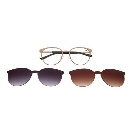 Armação Para Óculos De Grau Feminino Multi 2 em 1 Marrom LV.MU.0271-0202