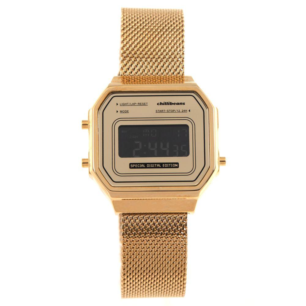 Relógio Digital Feminino Chilli Beans Vintage Metal Dourado RE.MT.0952-2121