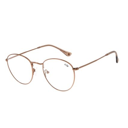 Armação Para Óculos De Grau Unissex Chilli Beans Redondo Marrom Claro LV.MT.0304-8888
