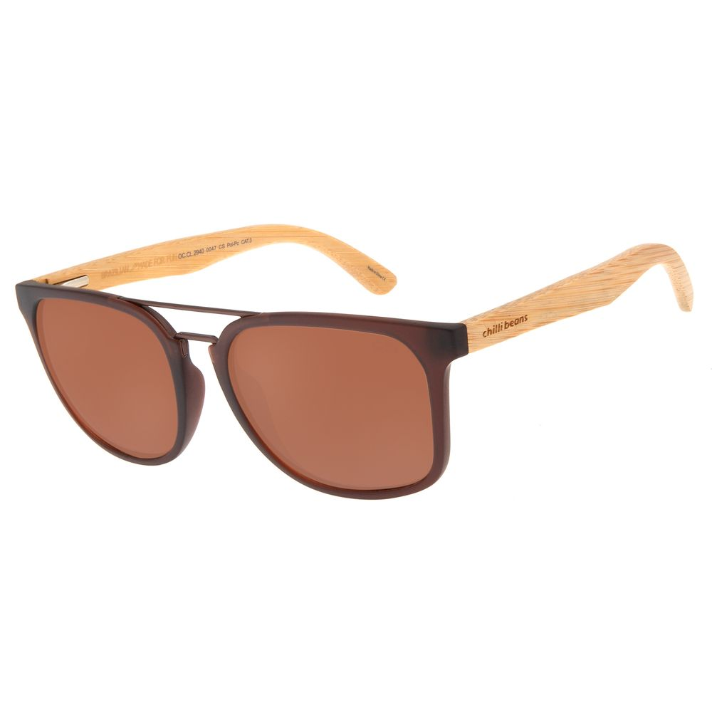 Óculos de Sol Masculino Chilli Beans Bossa Nova Bamboo Marrom Escuro OC.CL.2940-0047