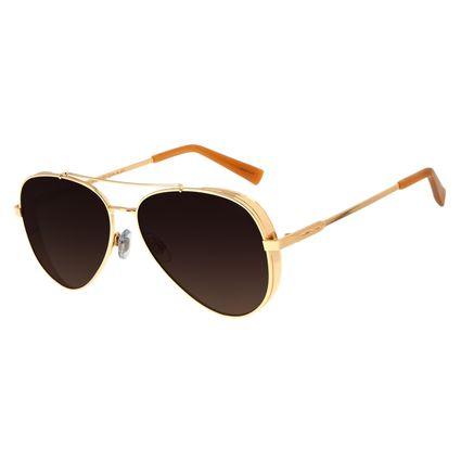 Óculos de Sol Unissex Chilli Beans Aviador Flap Dourado Polarizado OC.MT.2429-5721