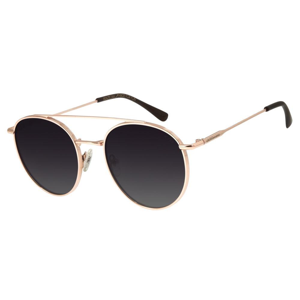 Óculos de Sol Unissex Chilli Beans Redondo Polarizado Ônix OC.MT.2769-2095