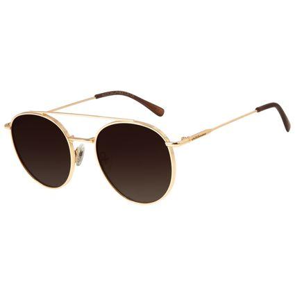 Óculos de Sol Unissex Chilli Beans Redondo Polarizado Dourado OC.MT.2769-5721