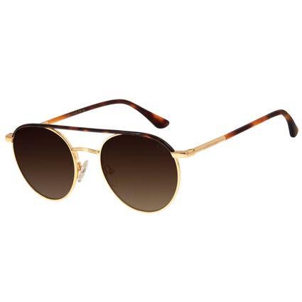 Óculos de Sol Feminino Chilli Beans Redondo Banhado A Ouro Dourado OC.MT.2773-5721