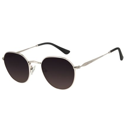 Óculos de Sol Unissex Feminino Chilli Beans Redondo Prata OC.MT.2784-0007