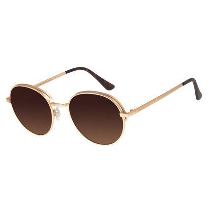 Óculos de Sol Feminino Chilli Beans Redondo Flap Dourado OC.MT.2583-5721